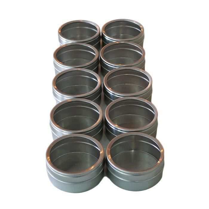 10 boîtes métalliques à couvercle transparent 5,3 x 2,5 cm