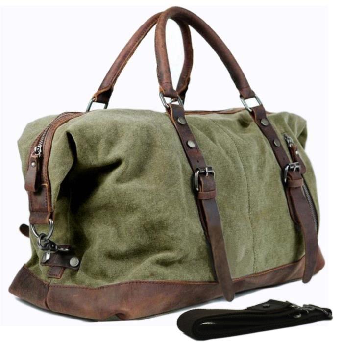 Vintage en cuir sac voyage Polochon Week-End Gym Duffle Nuit Carry on Luggage