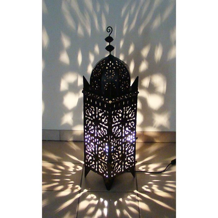 lampe photophore marocain lectrifi 95cm en fer forg lanterne orientale 100 fait main achat. Black Bedroom Furniture Sets. Home Design Ideas