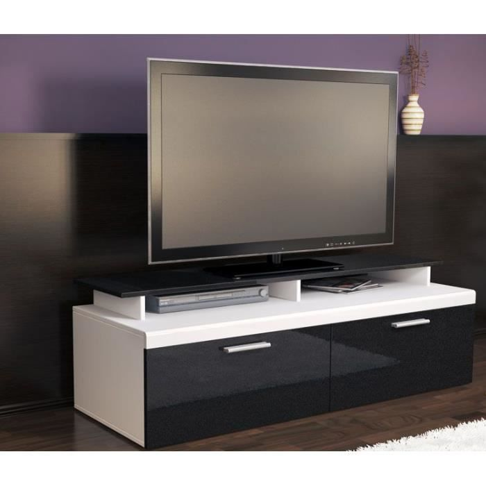 meuble tv blanc noir m tallique 140 cm achat vente. Black Bedroom Furniture Sets. Home Design Ideas