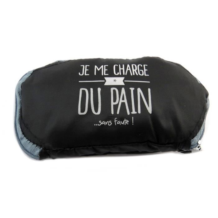 Sac à pain pliable 'Messages' gris noir ('Je me charge du pain ... sans faute !')) [P8964]