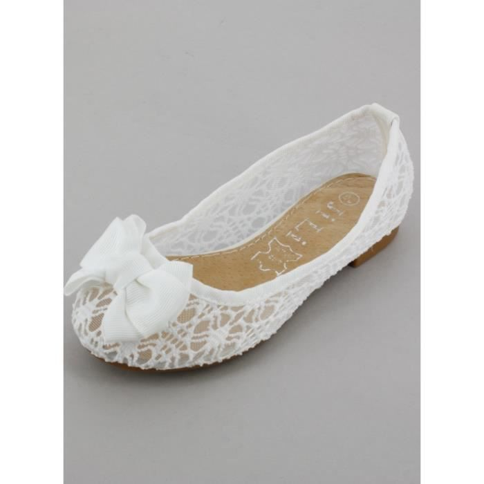Boutique-Magique Chaussures Mariage Blanche avec Petit Talon Fille Femme Communion