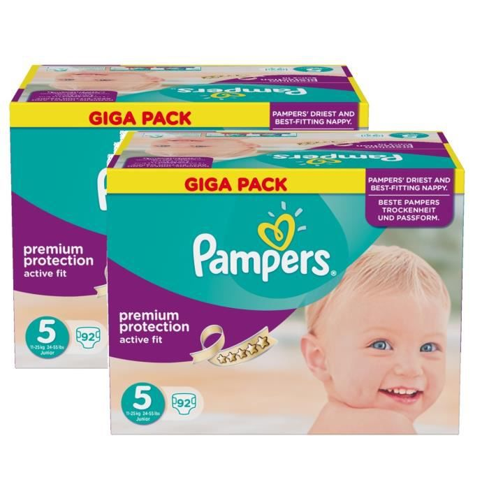 Pampers active fit taille 5 junior 11 25kg giga pack 184 - Couches pampers active fit taille 4 giga pack ...