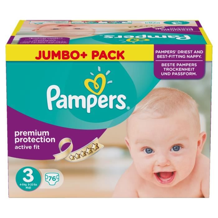 Pampers active fit taille 3 midi 4 9kg jumbo pack 76 - Couches pampers active fit taille 4 giga pack ...
