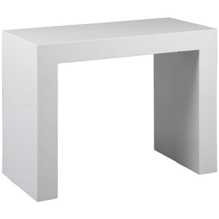 Table extensible avec 3 allonges coloris blanc achat for Table bois rectangulaire avec allonges