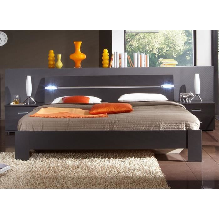 lit adulte avec 2 chevets teinte lave d 180 x 200 cm achat vente chevet lit avec 2 chevets. Black Bedroom Furniture Sets. Home Design Ideas