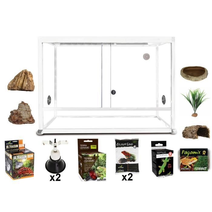 kit pogona terrarium elegance alu blanc 100x45x50 cm achat vente vivarium terrarium kit. Black Bedroom Furniture Sets. Home Design Ideas