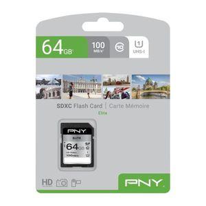 CARTE MÉMOIRE PNY Carte mémoire SD 64GB ELITE C10 U1