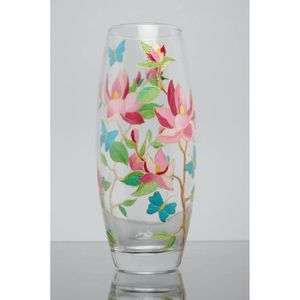 VASE - SOLIFLORE Vase à fleurs en verre peint de couleurs vitrail o