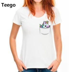 T-SHIRT T-shirt Licorne Drôle Mignonne Tampon Licorne Vête
