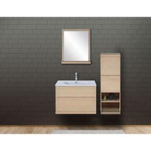 SALLE DE BAIN COMPLETE Ensemble salle de bain chêne 80 cm meuble + vasque