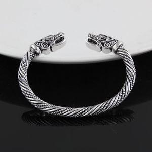 BRACELET - GOURMETTE Bracelet manchette homme Tête de loup Viking Bijou