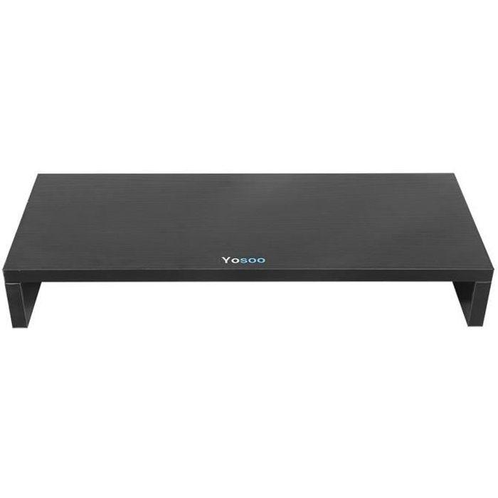 Meuble Ttap pour surélever un écran d'ordinateur ou de télévision - En bois de couleur noire - 50x20x7.7cm