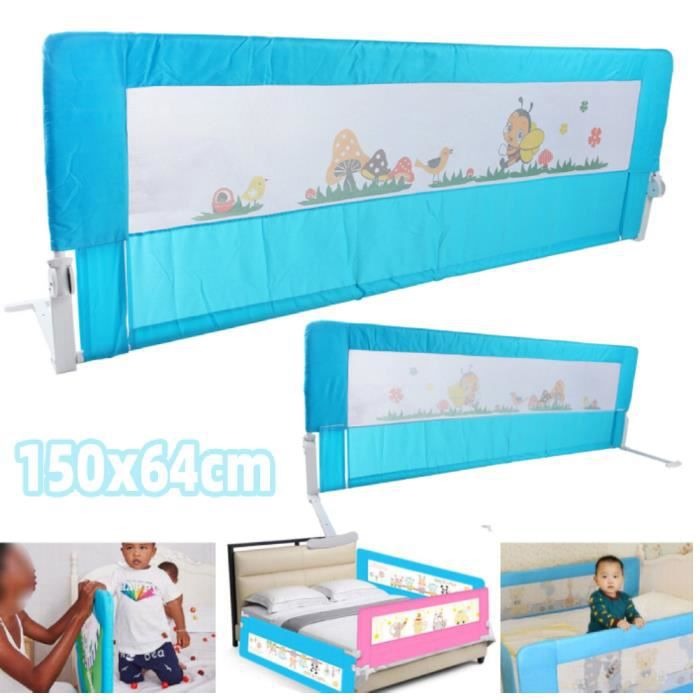 Blue 150cm Folding Toddler Safety Bed Rail Kids Sleep Guard Protection HB-127 -YNJ
