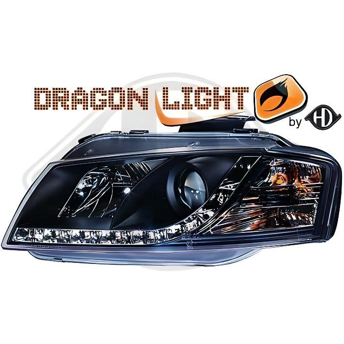 1031585 , Paire de Feux Phares Daylight LED noir pour AUDI A3 8P de 2003 a 2008
