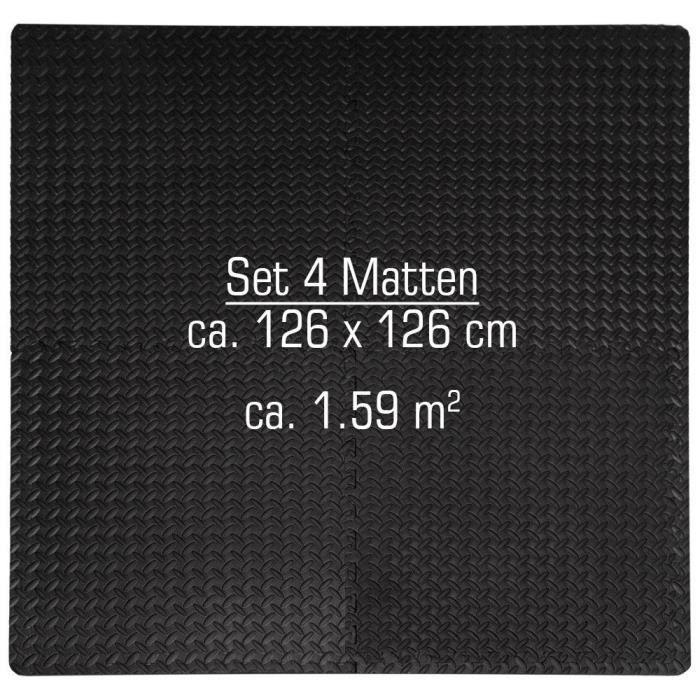 Protections Sol en EVA mousse Tapis Puzzle de Fitness sport composé de 4 fragments + 8 cadres dimension 1,59qm extensible Noir