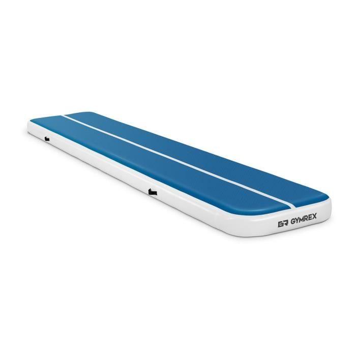 Tapis De Gym Gonflable Matelas De Tumbling Gymrex GR-ATM6 (500 x 100 x 20 cm, 250 kg, 10 PSI - 0,7 bar, PVC, Nylon, ABS, Bleu-Blanc)