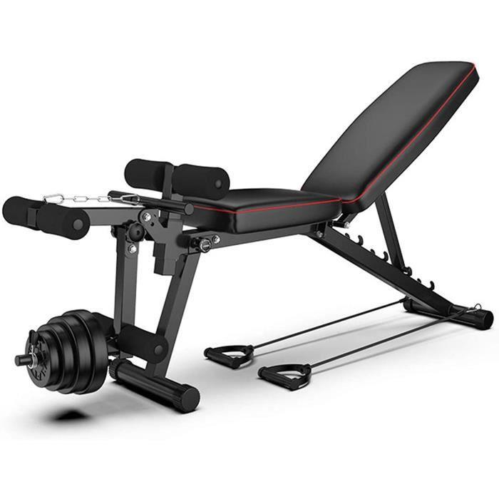 Banc de Musculation Réglable Workout, Solid Body Leg Extension Machine Leg Curl, Banc Olympique Workout Bench Press, Tabouret Haltèr