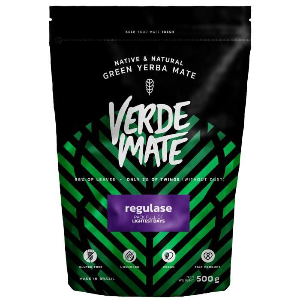 Yerba Maté Verde Mate Green Regulase - Verde Mate Regulase 500g - Yerba Maté du Brésil - Haute qualité - Yerba maté bénéfique pour l