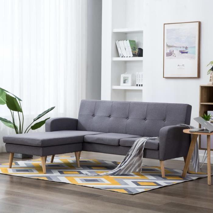 Canapé d'angle Bleu Tissu Contemporain Confort