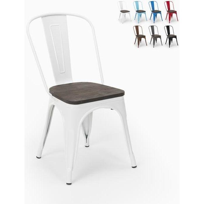 Chaises industrielles en bois et acier Tolix pour cuisine et bar STEEL WOOD - couleur:Blanc