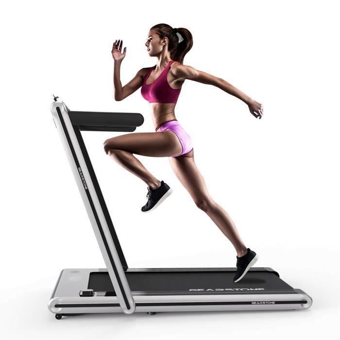GEARSTONE Tapis de Course, Fitness sur Tapis Roulant, Machine de Marche et Jogging avec Moniteur LCD Bluetooth