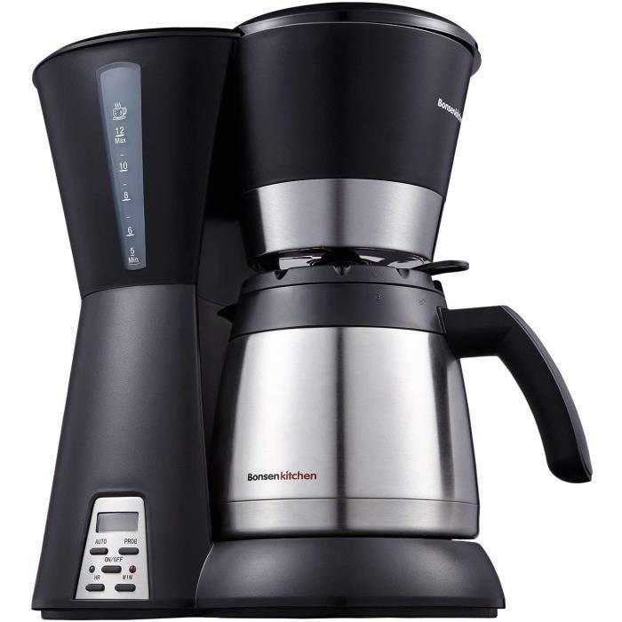 MACHINE A CAFE Bonsenkitchen Cafetiegravere Programmable 810 Tasses 12L Cafetiere Electrique Isotherme avec Filtre 800W Thermos e127