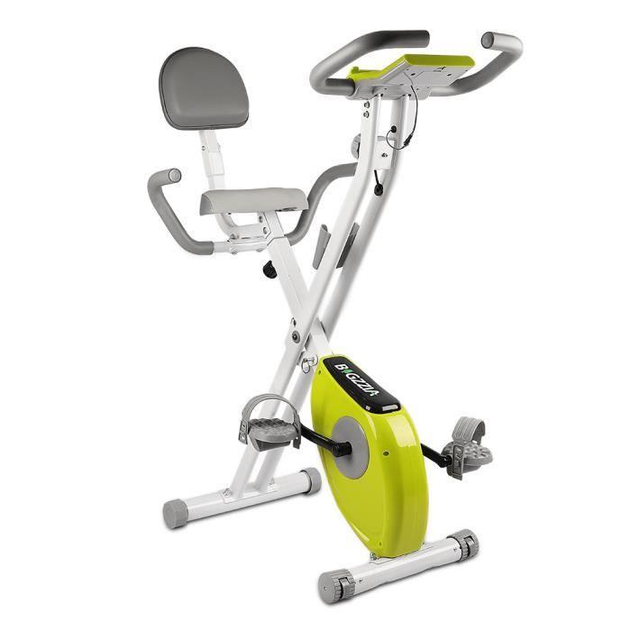 {Hosd Cheu} X-Bike Pliant Vélo d'appartement Pliable avec dossier - Écran LCD avec contrôle du rythme cardiaque - Vert