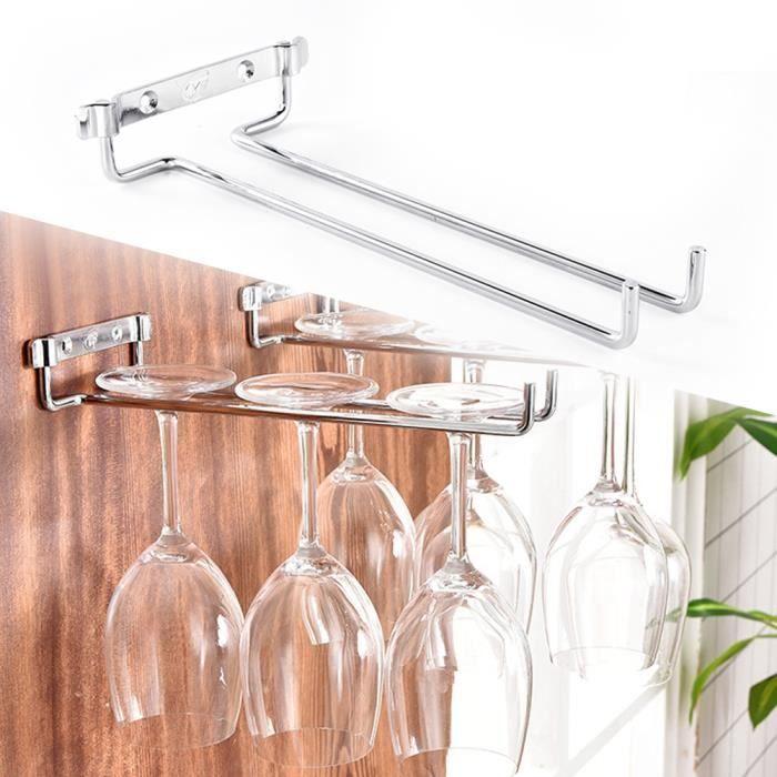 Porte-verres en fer à une rangée Support de tasse à vin monté au mur Cuisine Bar Étagères Décoration-TIP