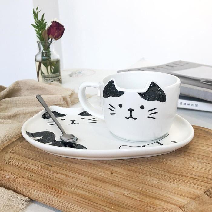 tasses,Tasses à café et soucoupes en céramique,chat de dessin animé mignon,tasse de petite capacité,tasse à - Type WHITE-1-200ML