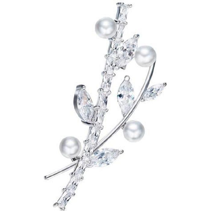 Broche Femme Feuille Perle et Cristal de Swarovski Element Blanc Plaqué Rhodium - Blue Pearls