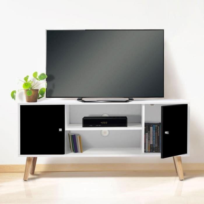 Meuble Télé EFFIE scandinave bois blanc et noir