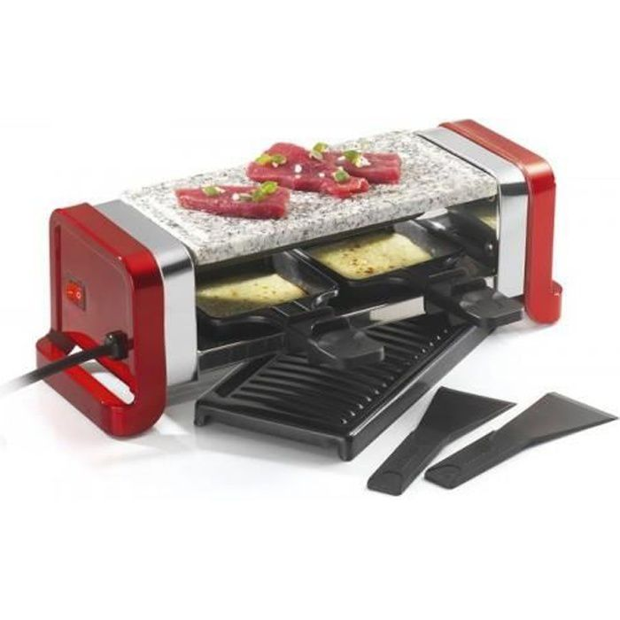 KITCHEN CHEF Raclette / pierre /gril Duo rouge GR202-350R
