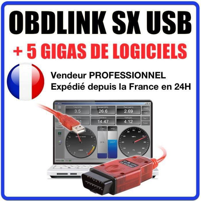 Valise diagnostique auto Pro Multimarque EOBD OBD2 Diagnostic OBDLINK SX USB