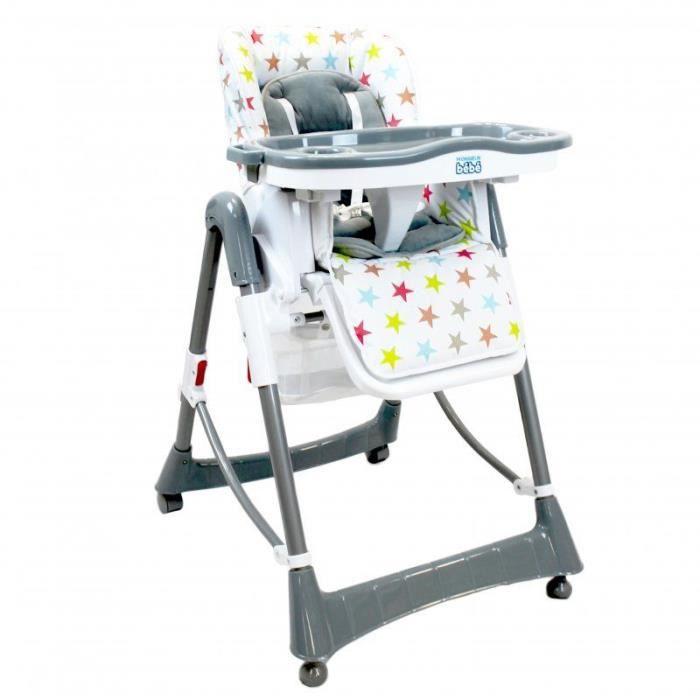 Chaise haute bébé / enfant, pliable, réglable hauteur, dossier et tablette - Ptit Stars - Multicolore