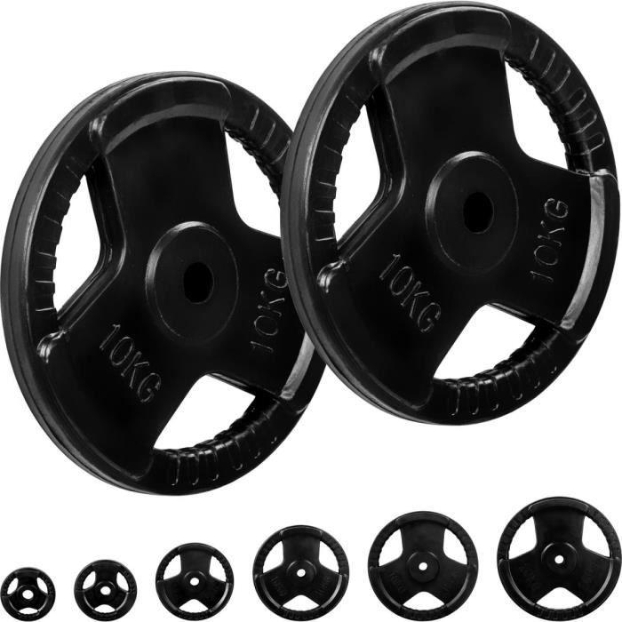 MOVIT® Poids grip en fonte revêtement caoutchouc, couleur noir 2x10 kg, diamètre d'alésage 31 mm