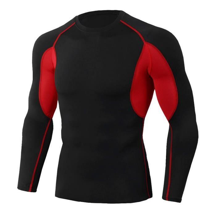 L'homme séance d'entraînement à manches longues Fitness Sports Yoga course pour homme Chemise Haut Chemisier rouge