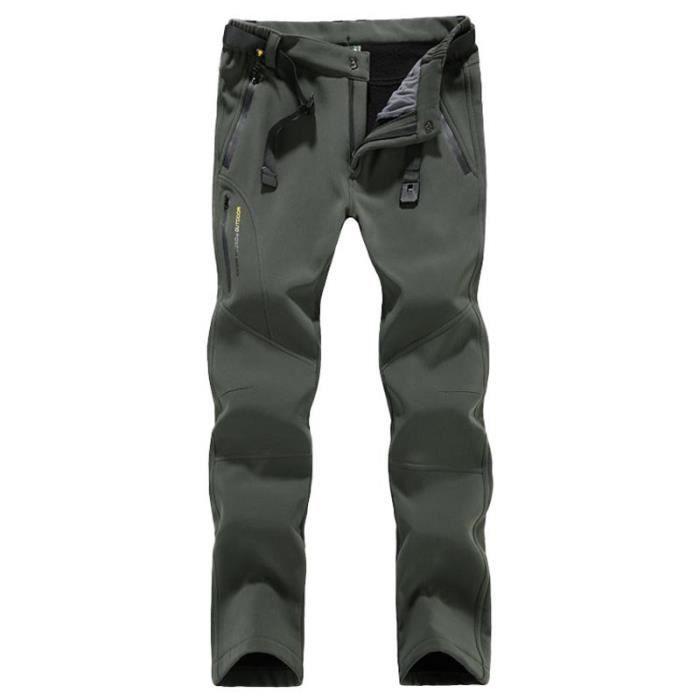 Pantalon Softshell Hiver Femme Doublé Polaire Imperméable Exterieur Chaud Pour Camping Randonnée