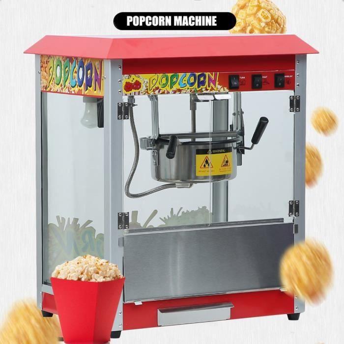 machine a popcorn appareil a pop corn cuiseur pop-corn retro Commerciale professionnel rouge 1400W