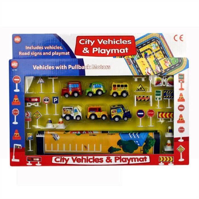 Véhicules de la ville à friction et tapis de jeu enfants jouet activité voitures