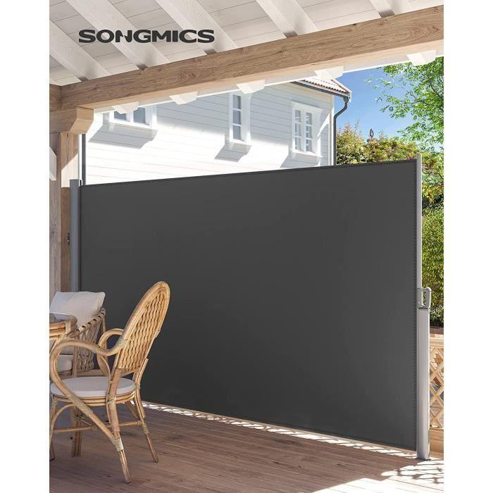 Paravent extérieur rétractable, 350 x 160 cm (L x H), Toile en Polyester 280 g/m², Gris foncé, GSA165G, SONGMICS