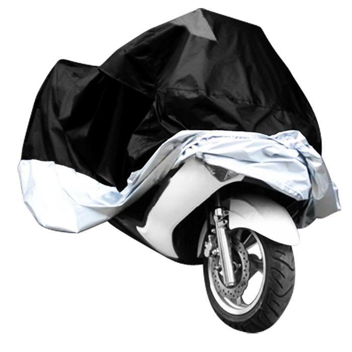 Housse moto scooter argente noir taille XXL protection exterieur impermeable sac Taille XXL 265cm x 105cmx 125cm