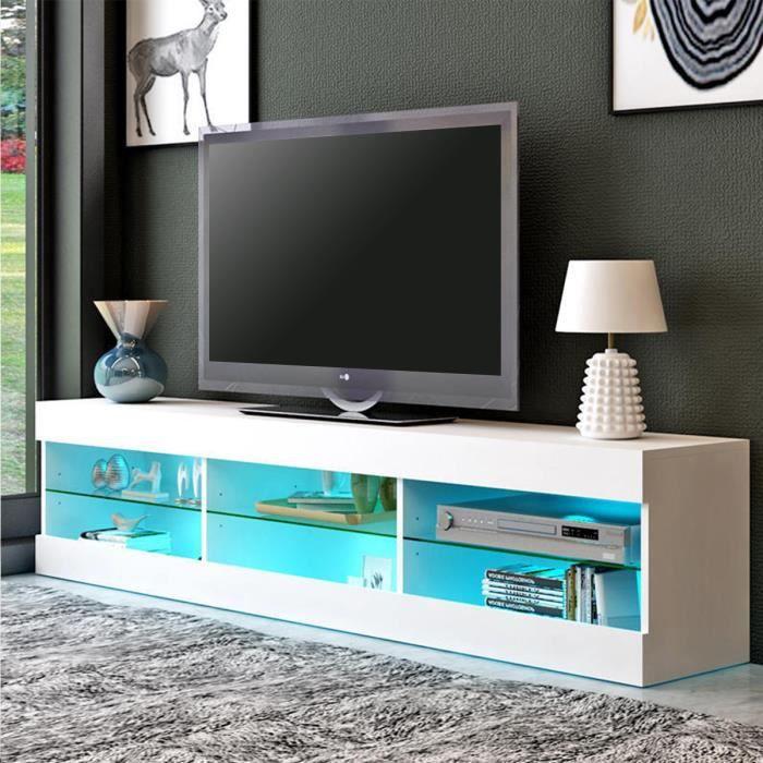 TEMPSA Meuble TV LED en Bois MDF Brillant Contemporain 145cm x 40cm x 32cm Multicolore