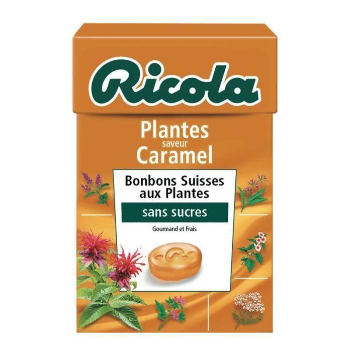 RICOLA Bonbons aux plantes Saveur Caramel - Sans sucres - 50 g