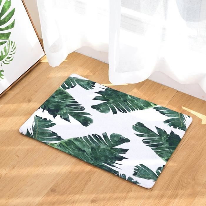 tapis de bain cuisine salon sol tapis d coration antid rapant absorbant 40x60 cm feuille jungle. Black Bedroom Furniture Sets. Home Design Ideas