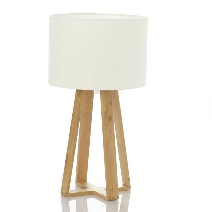 lampe scandinave blanche avec pied en bois achat vente. Black Bedroom Furniture Sets. Home Design Ideas