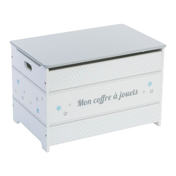 coffre jouets gris en bois achat vente coffre. Black Bedroom Furniture Sets. Home Design Ideas