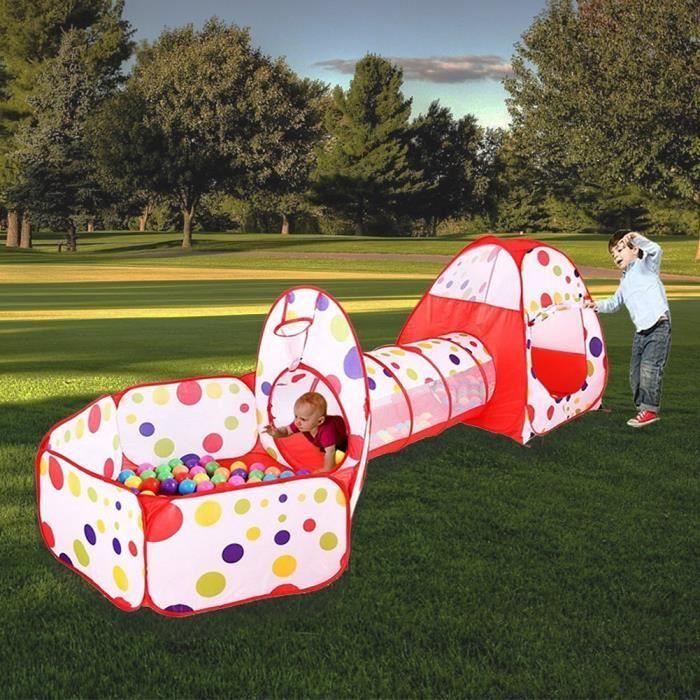 TENTE TUNNEL D'ACTIVITÉ 3 en 1 Tente de jeu enfants Maison de Jouet Tunnel