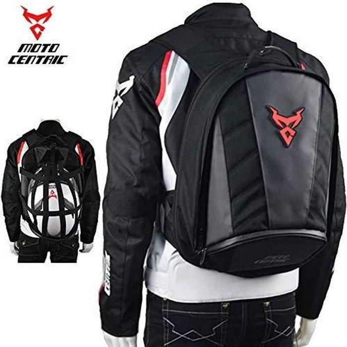Moto Noir Fibre de Carbonee Coquille Dure Grande Capacit/é Sac /à Dos Moto Casque Sac R/éfl/échissant Voyage Sac