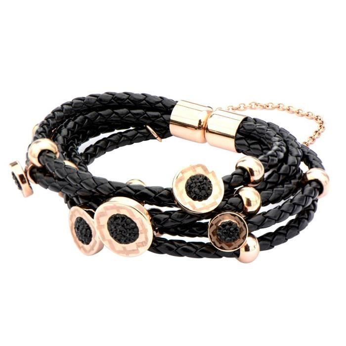 Womens Elisha Collection Braided Black Leather Bracelet With Ip Rose Gold Tone Charms With BlackBTV5O